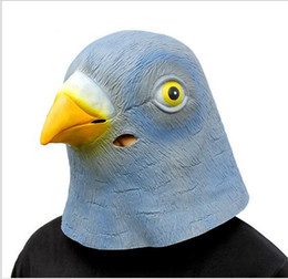 pigeon props NZ - Top Grade New Pigeon Head Mask Creepy Animal Head Halloween Costume Theater Prop Novelty Latex Rubber pigeon mask Free Shipping
