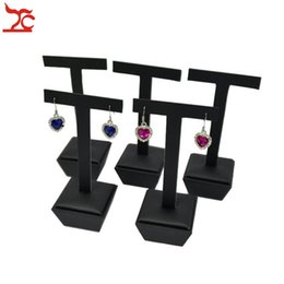 display show jewelry Canada - New Arrival High Quality 5Pcs Black PU Series Counter Show Case Fashion Earring Stud Jewelry Display Hanging Stand Holder T Bar 5*5*13.5cm