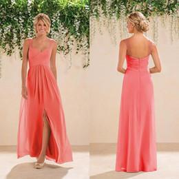 Опт Коралловые страны платье невесты шифон боковой щели Backles женщины носить формальные фрейлина платье свадебное платье выпускного вечера вечернее платье