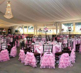 $enCountryForm.capitalKeyWord NZ - Custom Made 2017 Pink Organza 3D Flower Chair Covers Vintage Romantic Chair Sashes Beautiful Fashion Wedding Decorations 05