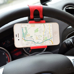 iphone 5s car charger holder 2019 - Car Phone Holder Mounted on Steering Wheel Cradle Smart Mobile Phone Clip Mount Holder Rubber Band For Samsung iPhone 5s