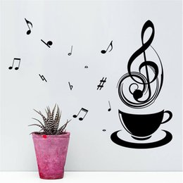 tea music note UK - Coffee Music Note Cups Cafe Tea Wall Stickers Art Vinyl Decal Kitchen Restaurant Pub Home Decor Mural Wallpaper Relax Mom Gift