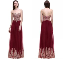 China Real Photo Burgundy A Line Evening Dress Jewel Scoop Neck Low Back Long Prom Dresses with Lace Appliques Elegant Formal Evening Gowns 2017 cheap red black modern art suppliers