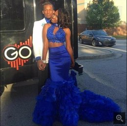 Lace Beaded Layered Dress Canada - Royal Blue sexy Two Piece Prom Dresses 2017 Mermaid Layered with Lace Applique Beaded Long African Prom Gowns Court Train for Evening Party