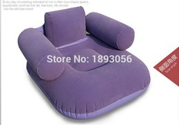 Red Living Room Furniture NZ - Wholesale- Camping Mat Living Room Furniture 2 Air Chamber Safety Red Purple Flocking Chair 92x88x63cm Comfort Leisure PVC Inflatable Sofa