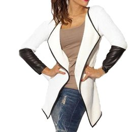 China Wholesale- Spring Autumn New Women Splice Pu Leather Knitted Cardigans Long Sleeve Lapel Thin Coat Patchwork Jacket Outwear Poncho S-3XL supplier leather jackets knitted sleeves suppliers