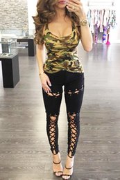 Les Femmes Camo Gilets Pas Cher-Femmes Camouflage Summer Casual Blouses Chemises Tops Sexy T-Shirts Cotton Camo Crew Tee Gilet manches sans manches