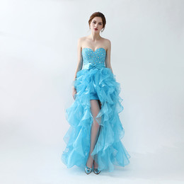 China Sexy Fashion Sweetheart Neck Prom Dresses 2018 Bow Crystal Split Side Ruffles Formal Evening Gowns Free Shipping suppliers