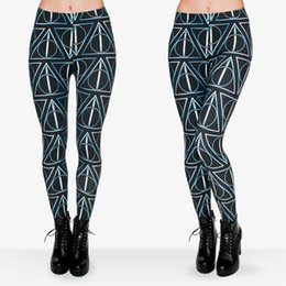 China Lady Leggings Deathly Hallows 3D Graphic Print Women Tight Skinny Stretch Pants Girl Yoga Wear Sports Workout Capris Soft Trousers (J29720) supplier ladies yoga pants suppliers