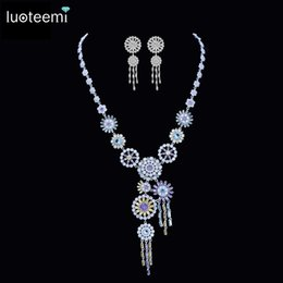 Discount 14k white gold pendant settings 2018 14k white gold luoteemi new luxurious jewelry long tassel round pendant clear multi cz crystal white gold color necklace for women wedding set affordable 14k white gold mozeypictures Choice Image