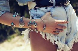 Moda Kadın Parmak Bilezik Pulseras 2016 Gümüş Bohemian Çingene Plaj Charm Kolu Mücevher Kristal El Zinciri Bilezik Bileklik