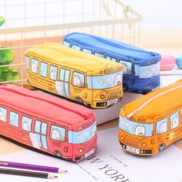 Discount gifts for year old girls - Children Pencil Case Cartoon Bus Car Stationery Bag Cute Animals Canvas Pencil Bags For Boys Girls School Supplies Toys