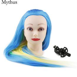 $enCountryForm.capitalKeyWord Canada - Professional Hairdressing Training Mannequin Head,Blue Rainbow Color Hair Pratice Mannequin Head,Female Model Heads With Wig