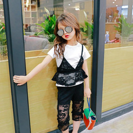 Vêtements De Mode Pas Cher-New 2017 Summer Fashion Girls dentelle noire Meilleur costume T-shirt blanc Tops gilet gants pantalons bloomers 3pcs set Enfants Outfit Girls Clothes A450