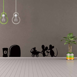 $enCountryForm.capitalKeyWord NZ - Children Mouse Family Hole Wall Stickers Room Decoration Vinyl Home Wall Decal Lovely Animal Cartoon Diy