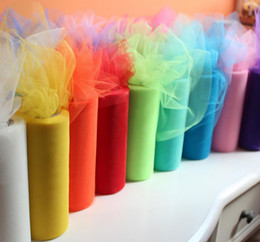 "wedding chair decorations diy Canada - 6""x25yd Tulle Roll Spool Fabric Wedding Party Chair Bow Decor DIY Tutu Skirt Sheer Gauze Table Banner Garland Tassel sash Bands decorations"