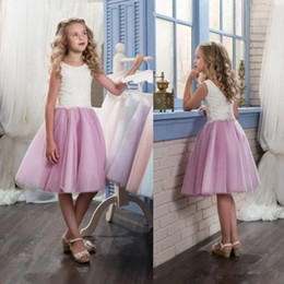 Wedding Vest Pink Canada - Custom Made Flower Girl Dresses for Wedding Blush Pink Princess Tutu Sequined Appliqued Lace Bow 2017 Vintage Child First Communion Dress02