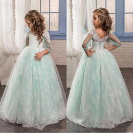 Mint color pageant dresses online shopping - Cheap Flower Girls Dresses Mint Green Illusion Long Sleeves Puffy Tulle Lace Skirts Lovely Girls Pageant Gowns Covered Buttons