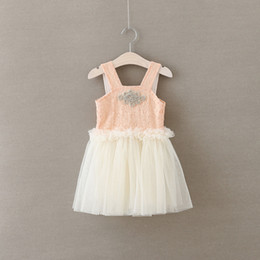 cream color dresses 2019 - New Girls Dresses Children Pink and Cream Chiffon Lace Suspender Dresses with Rhinestone Fashion Kids Clothes cheap crea