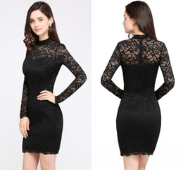 Barato Vestidos Curtos Elegantes Novos-Elegant Black Full Lace Mini Short Cocktail Dresses 2018 New Arrival High Neck Sheer Long Sleeves Formal Party Wear Cheap In Stock CPS629