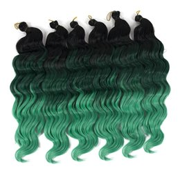 Discount new roots hair extensions - New Fashion 16INCH Black Root Green Synthetic Ombre Braiding Hair Extensions Deep Wave Twist Crochet Braids Hair 80g pac