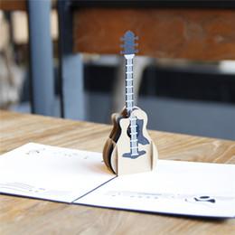 $enCountryForm.capitalKeyWord Canada - 3pcs lot 3D Guitar Laser Cut Wedding Invitations Kirigami & Origami 3D Pop UP Card Greeting Cards
