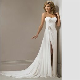 $enCountryForm.capitalKeyWord NZ - Sexy Bohemian Wedding Dress Gowns Beach Chiffon Wedding Dresses Sweathear with Lace Up Thigh-High Slits A Line Cheap Bridal Gown