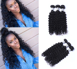 Discount 32 inch virgin hair - Unprocessed Brazilian Human Remy Virgin Hair Deep Wave Hair Weaves Hair Extensions Natural Color 100g bundle Double Weft