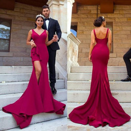 TrumpeT prom dress peplum online shopping - 2019 Arabic Mermaid Prom Dresses Party Occasion Gowns Front Spit Sexy V Neck Sweep Train Vestidos Evening Party Gowns