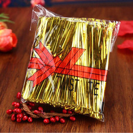 twist ties for bags 2019 - Candy Color Metallic Twist Ties Wire Cello Bags Lollipop Pack Fastener Sealing For Cake Pops Bread
