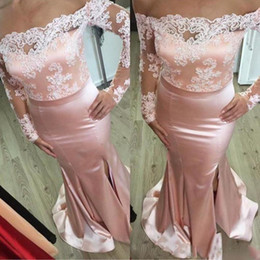 $enCountryForm.capitalKeyWord Australia - Lace Applique Off Shoulder Bridesmaid Dresses Pink Blush Sexy Sheer Long Sleeve Satin Mermaid Maid Of Honor Gowns Wedding Prom Party Dress