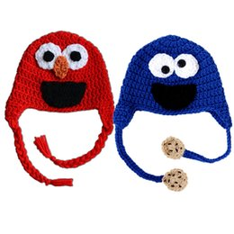 $enCountryForm.capitalKeyWord UK - Novelty Elmo Monster Hat,Handmade Knit Crochet Baby Boy Girl Twins Red Blue Animal Hat,Halloween Costume,Infant Toddler Photo Prop