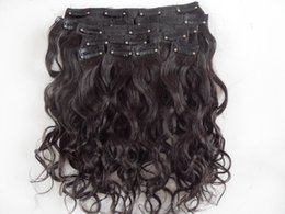 Clip Hair Black Australia - mongolian human virgin hair extensions 9 pieces clip in hair curly hair dark brown natural black color