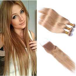honey blonde brazilian human hair bundles NZ - Full Shine Solid Color #27 Lace Closure 4*4 Straight Brazilian Remy Human Hair Honey Blonde Closure With Bundles Straight Hair Extension