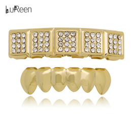 $enCountryForm.capitalKeyWord Canada - LuReen Gold Silver 5 Square Iced Out CZ Top Teeth and 6 Bottom Grillz Hip Hop Teeth Caps for Men Women Party Jewelry