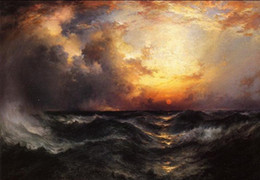 Discount paintings seascapes sunsets Framed Thomas Moran - Sunset in Mid-Ocean sun with huge waves,pure Hand Painted Seascape Art Oil Painting On Canvas.Mult