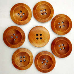 buttons 25mm holes NZ - Wooden Buttons 25mm coffee 4 holes for handmade Gift Box Scrapbooking Crafts Party Decoration DIY Sewing draw