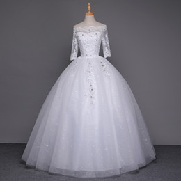 Vintage Wedding Dress Tulle Shoulder Wrap NZ - Wedding Dresses 2016 Off Shoulder Vintage Cheap Beach Tulle Plus Size Wedding Dresses Long Wedding Guest 1 2 Sleeve Gown Maid Of Honor Dress