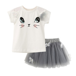 Vêtements Pour Enfants En Gros Jupes En Short Pas Cher-Vente en gros - 2Pcs / Set Kids Girls Summer Cute Cat T-Shirts + Net Veil Tutu Jupe Baby Girls Short Sleeve Cartoon Kitten Imprimé Vêtements