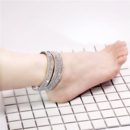 $enCountryForm.capitalKeyWord NZ - 1 To 4Rows Clear Crystal Sliver Bling Sparkly Crystal Sexy Anklets For Women 2017 Summer Beach Barefoot Bracelet Chain Stretch Bride Jewelry