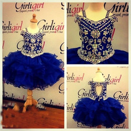 Wholesale girl's dressing gown for sale – plus size 2017 Lovely Royal blue Girl s Pageant Dresses with Crystal Beaded Knee Length Birthday Party Dresses Ball Gown Princess Party Gowns