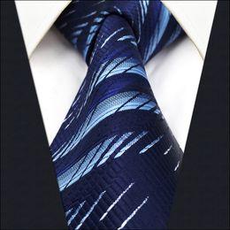 $enCountryForm.capitalKeyWord Canada - B11 Navy Light Blue Geometric Silk Mens Necktie Tie Fashion Brand New Ties for male Dress extra long size