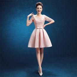 $enCountryForm.capitalKeyWord Canada - Brand New Evening Dresses with Half Sleeves Elegant Women Girls Gown Short Ball Prom Party Pageant Graduation Formal Dress