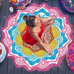 $enCountryForm.capitalKeyWord Australia - 147*147cm Yoga Blankets Polygon Small Ball Sand Printing Lotus Colorful Beach Towel Outdoor Tablecloth Picnic Blanket