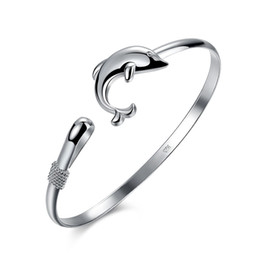 $enCountryForm.capitalKeyWord UK - Lose Money! Wholesale 925 Jewelry Silver Plated Bangle Bracelet Animal Dolphin Charm Elegant Bangle for Girl Cute Accessories Christmas Gift