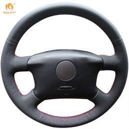 Passat Steering Wheel Canada - Mewant Black Genuine Leather Car Steering Wheel Cover for Volkswagen Passat B5 VW Passat B5 VW Golf 4