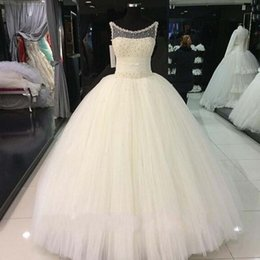 Garden Fairy Wedding Dress Canada - 2019 New Scoop Sheer neck Wedding Dresses A-line Floor length Beadings country plus size fairy Pears wedding dress Bridal Gowns 2019