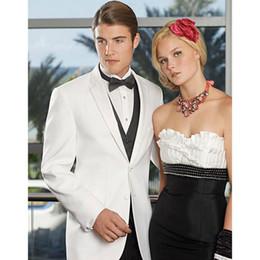 Groom western suit online shopping - New Western Slim Fit Groom Tuxedos Light White Best Man Suit Two Buttons Wedding Groomsman Men Suit jacket pants vest Q6391