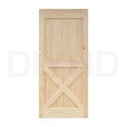 diyhd 38in84in unfinished pine knotty sliding barn wood door slab twoside x style barn door panel with hardware ready for