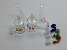 Discount cheap oil dome bong - Mini Glass Recycler Oil Rig Glass bong with dome and nail portable Coloful Cheap mini bongs for smoking tobacco bowl